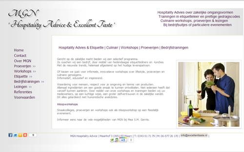 Website bouwer Etiquette en proeverijen